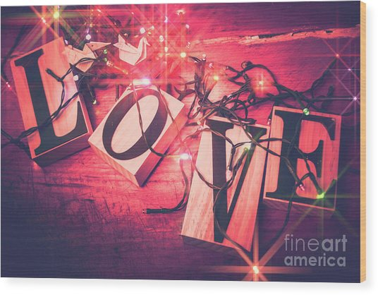 Love Birds And Wooden Sentiments Wood Print