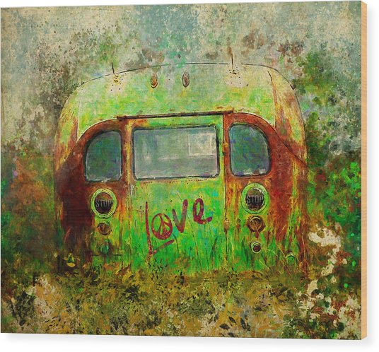 Love Bus Wood Print
