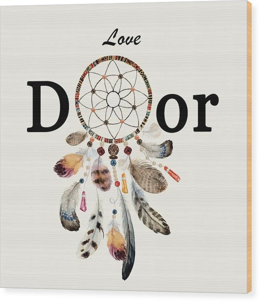Wood Print featuring the painting Love Dior Watercolour Dreamcatcher by Georgeta Blanaru