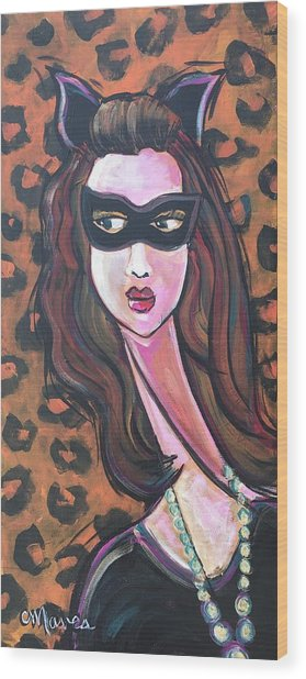 Wood Print featuring the painting Love For Cat Woman  by Laurie Maves ART