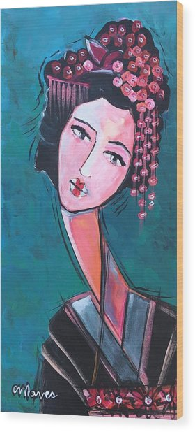 Wood Print featuring the painting Love For Geisha Girl by Laurie Maves ART