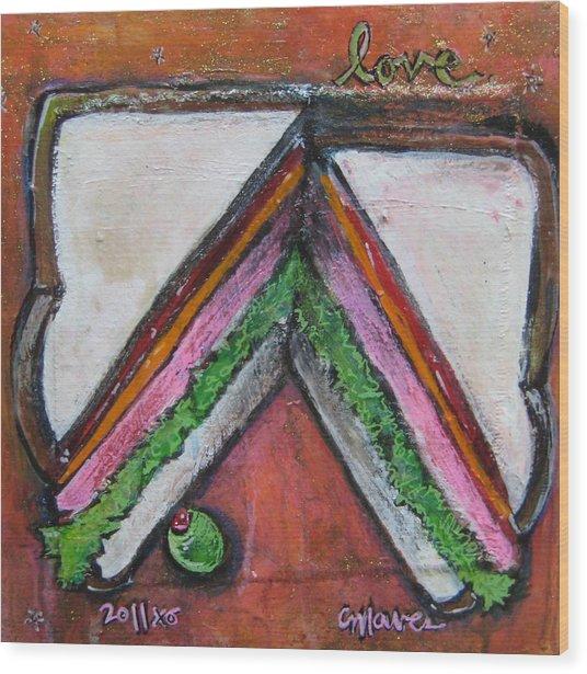 Love For Ham Sandwich Wood Print
