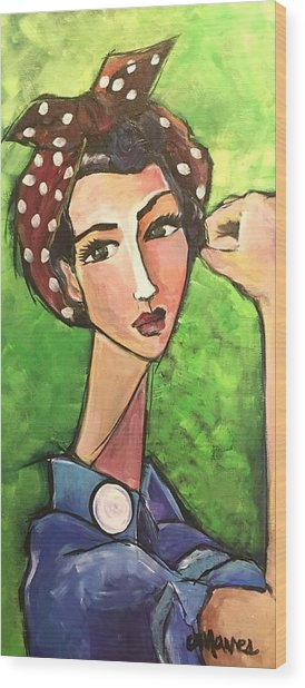 Wood Print featuring the painting Love For Riveters by Laurie Maves ART