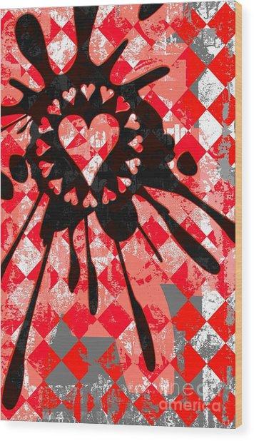 Love Heart Splatter Wood Print