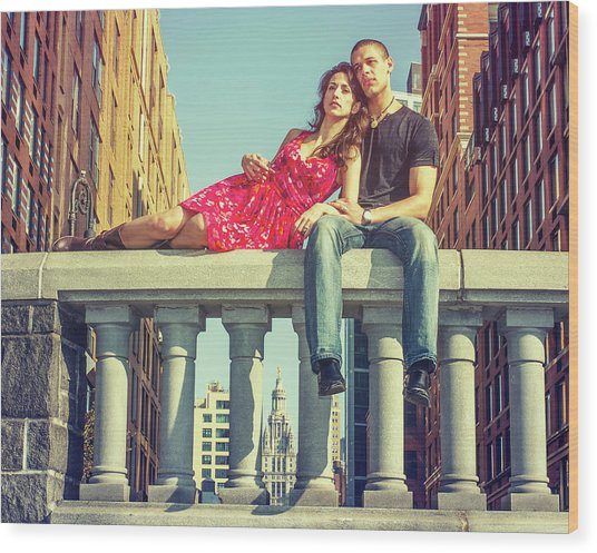 Love In Big City Wood Print