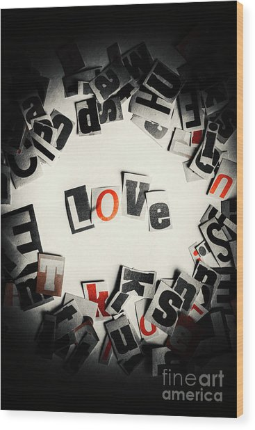 Love In Letters Wood Print