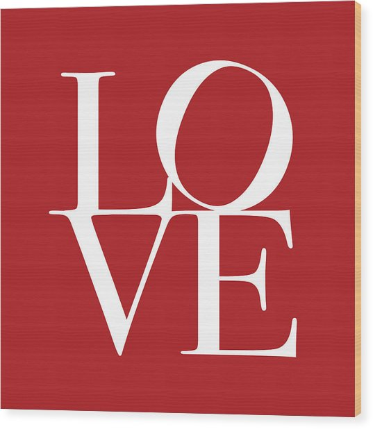 Love In Red Square Wood Print
