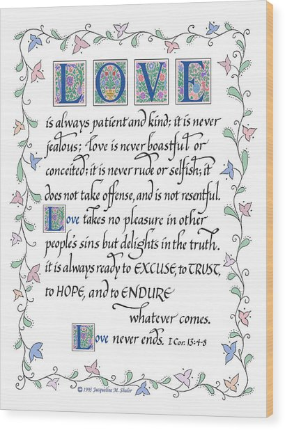 Love Is Always Patient-with Border Wood Print