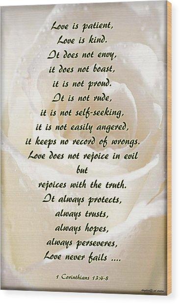 Love Is ... Wood Print by Angelica -Gel Studios