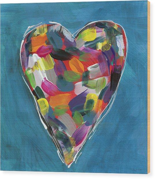 Love Is Colorful In Blue- Art By Linda Woods Wood Print