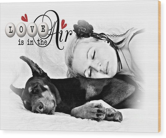 Wood Print featuring the digital art Love Is In The Air by Kathy Tarochione