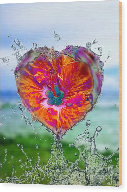 Love Makes A Splash Wood Print
