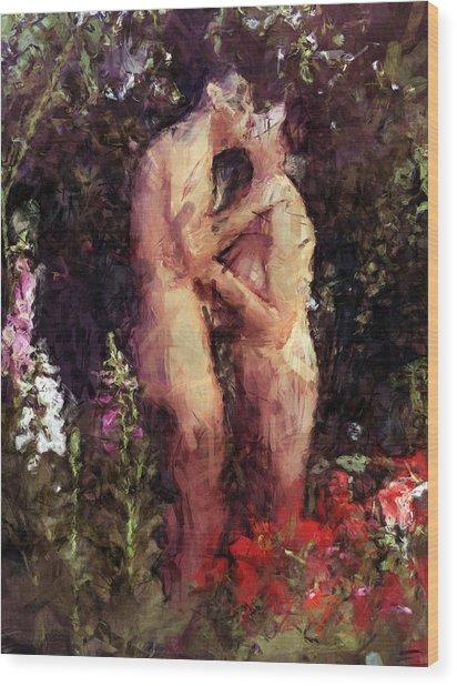 Love Me In The Garden Wood Print