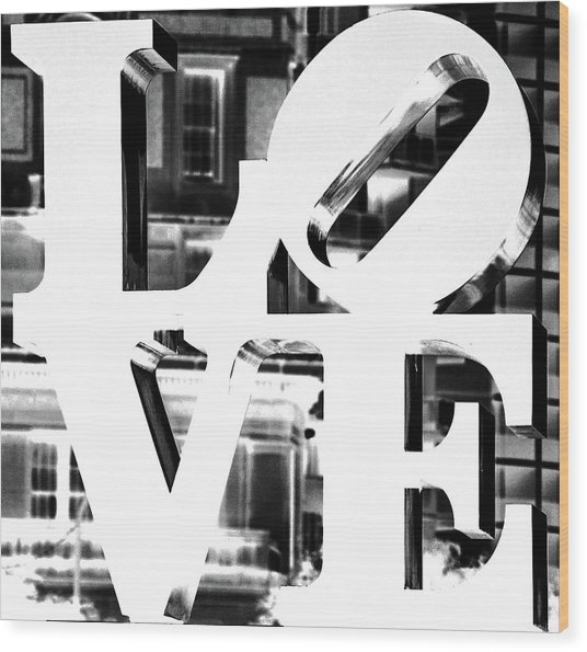 Love Philadelphia White  Wood Print