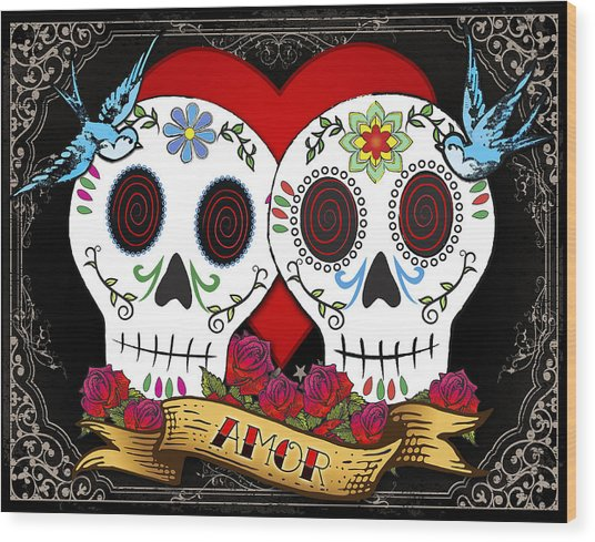 Love Skulls II Wood Print