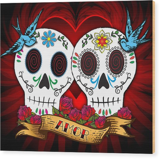 Love Skulls Wood Print