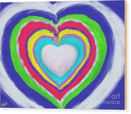 Love Surrounds Love Surrounds Love Wood Print