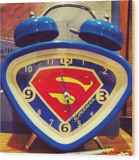 Superman Clock Wood Print