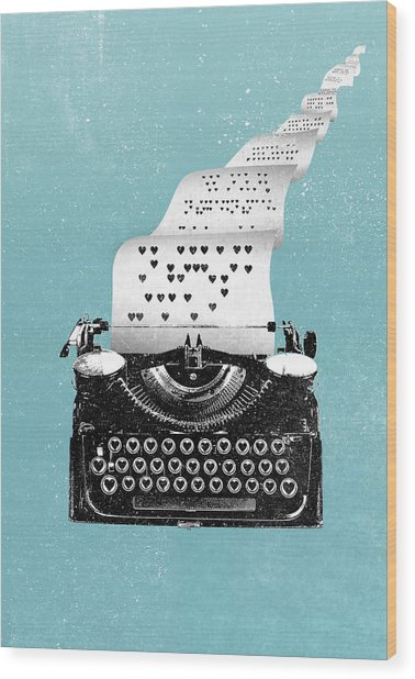 Love Typewriter Poster Wood Print