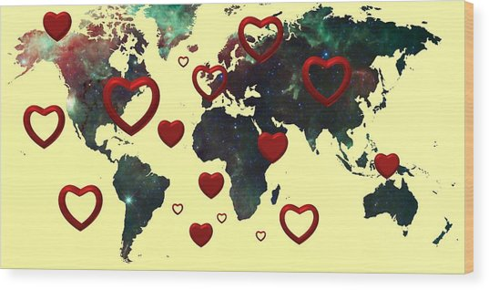 Love World Map 2 Wood Print