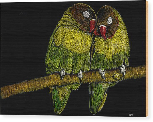 Lovebirds Wood Print