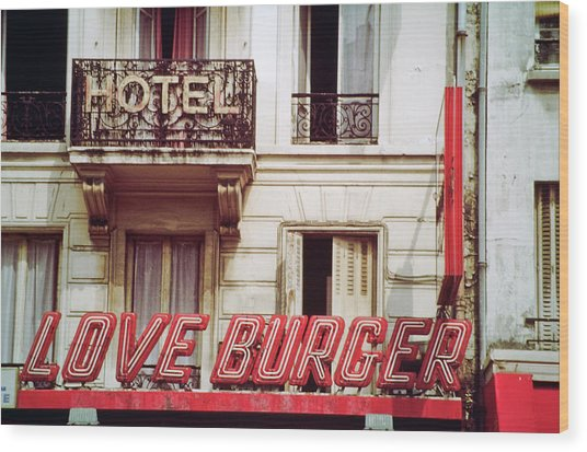 Loveburger Hotel Wood Print