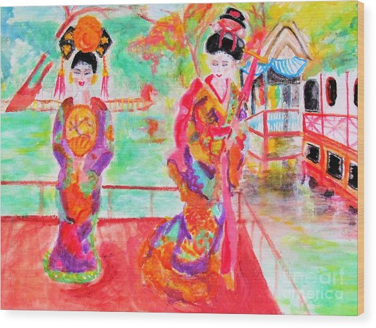 Lovely Asian Ladies Wood Print