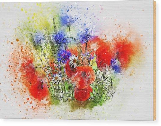 Watercolour Bouquet Wood Print