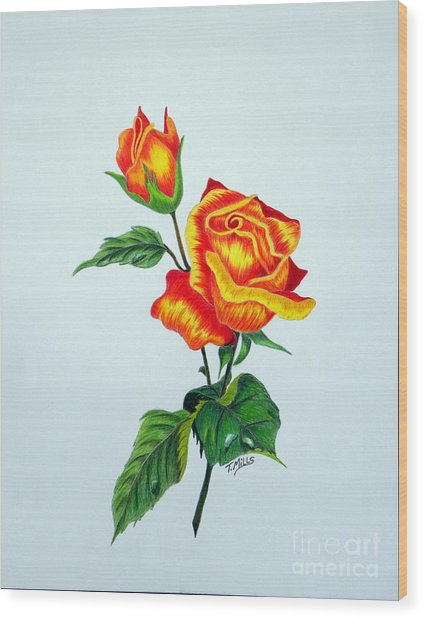 Lovely Rose Wood Print