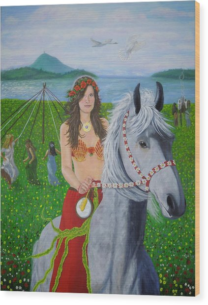 Lover / Virgin Goddess Rhiannon - Beltane Wood Print