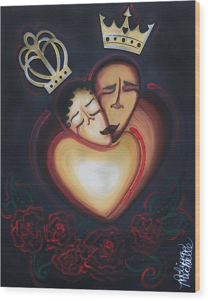 Lovers Embrace Wood Print