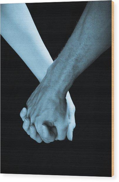 Lovers Hands Wood Print
