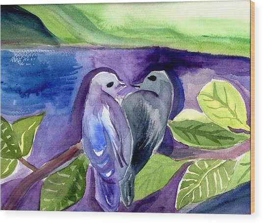 Lovers Wood Print by Janet Doggett