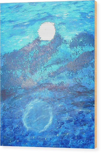 Lover's Moon Wood Print by BJ Abrams