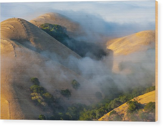 Low Clouds Between Hills Wood Print