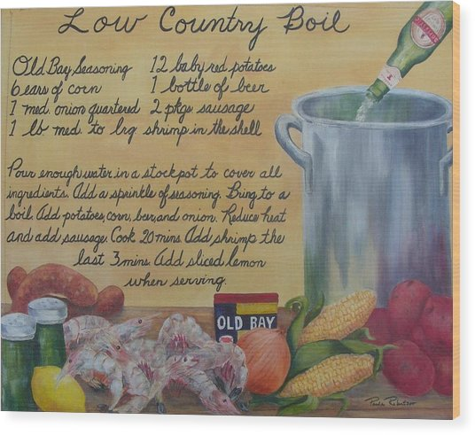 Low Country Boil Wood Print