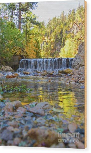 Low Look At The Falls Wood Print