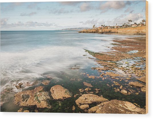 Low Tide At Sunset Cliffs Wood Print