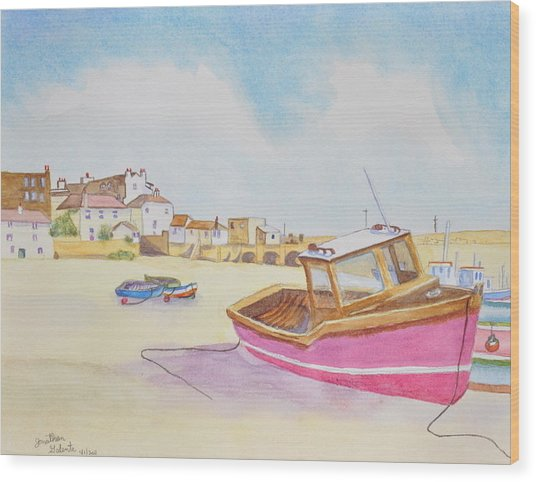 Low Tide Boat On The Beach Wood Print by Jonathan Galente