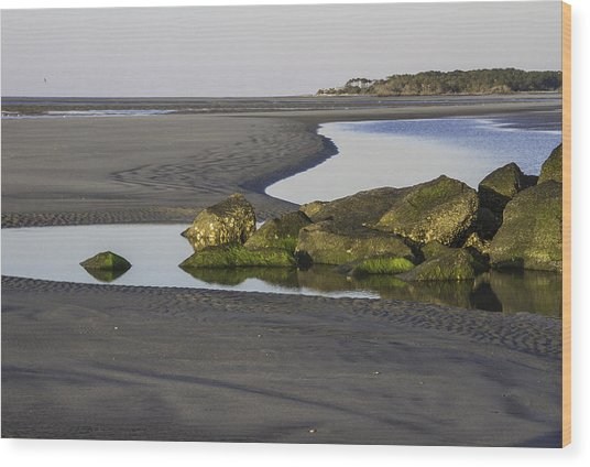 Low Tide On Tybee Island Wood Print