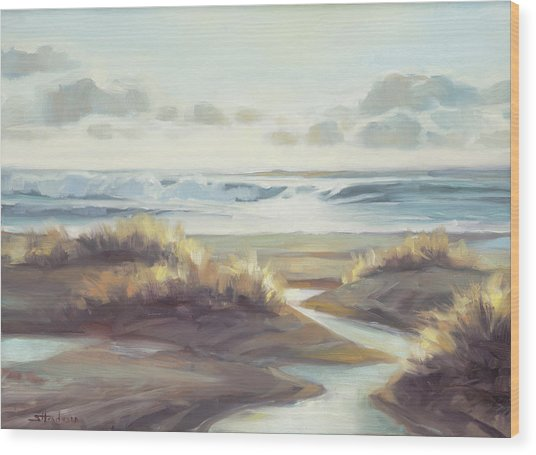 Wood Print featuring the painting Low Tide by Steve Henderson