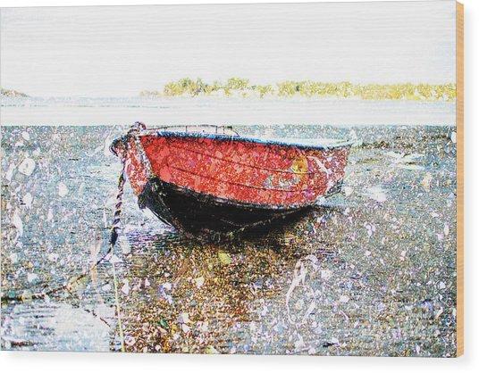 Low Tide's Rest Wood Print