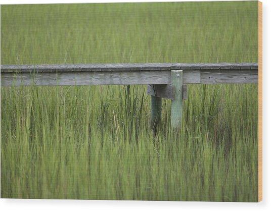 Lowcountry Dock Over Marsh Grass Wood Print