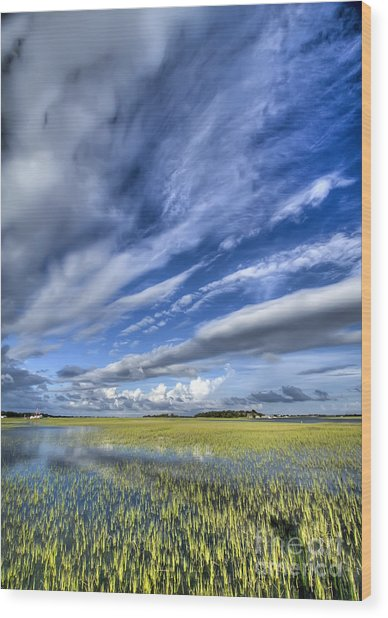 Lowcountry Flood Tide And Clouds Wood Print