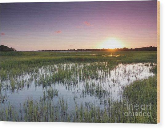 Lowcountry Flood Tide Sunset Wood Print