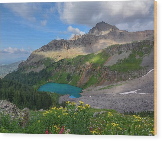 Lower Blue Lake And Mt. Sneffels Wood Print by Aaron Spong