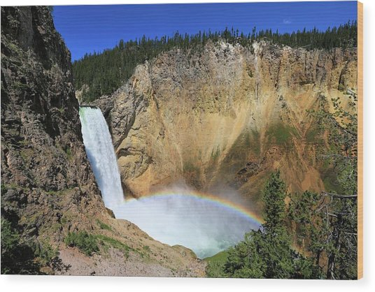 Lower Falls With A Rainbow Wood Print