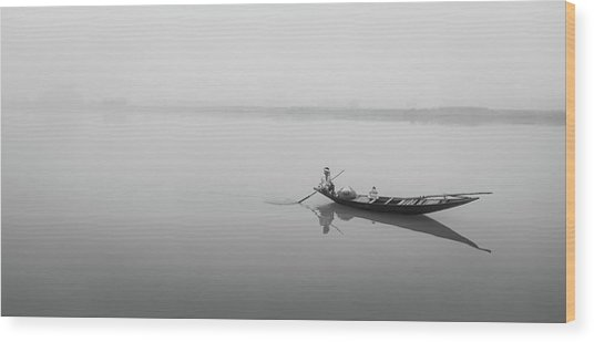 Lower Ganges - Misty Morinings Wood Print