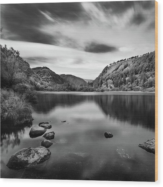 Wood Print featuring the photograph Lower Lake At Glendalough, County Wicklow - Ireland by Barry O Carroll