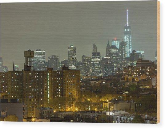 Lower Manhattan Cityscape Seen From Brooklyn Wood Print